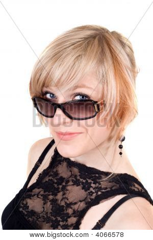 Portrait Of The Beauty Blonde In Sunglasses. Isolated