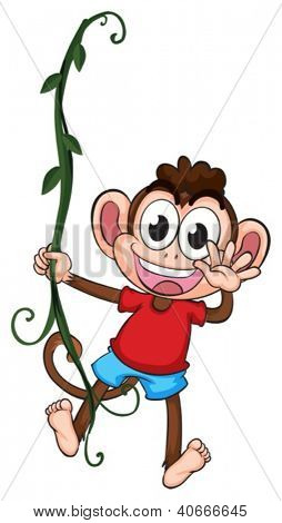 Illustration of a monkey hanging on a plant on a white background