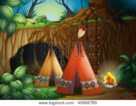 Illustration of a tent in nature in dark night
