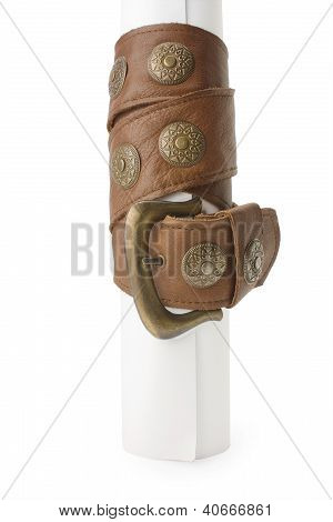 Roll Paper Entwined By Leather Belt