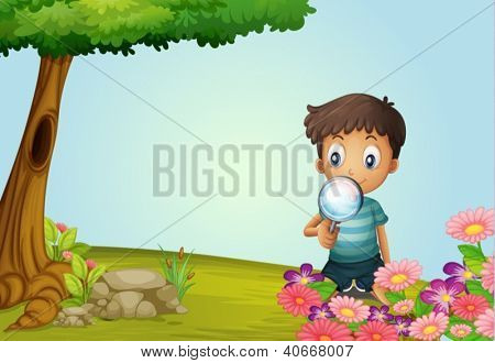 Illustration of a boy with lense in a garden