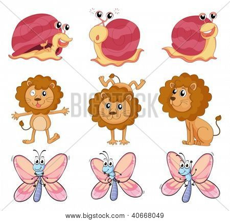 Illustration of a lion, a snail and a butterfly on a white background