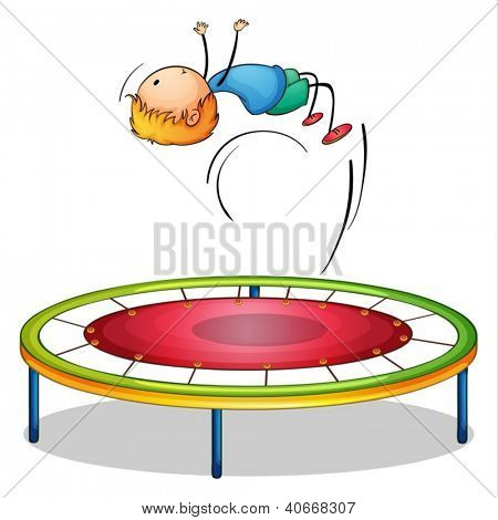 Illustration of a boy playing trampoline on a white background