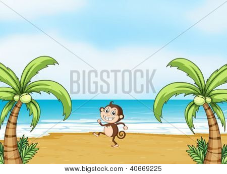 Illustration of a monkey dancing on a beach in a beautiful nature