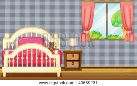 Illustration of a bed and side table in a room