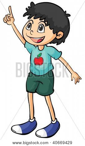 Illustration of a smiling boy on a white background