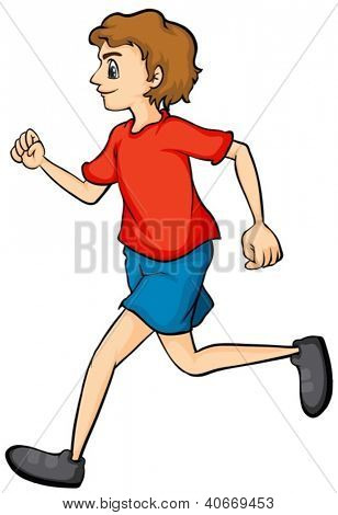 Illustration of a boy running on a white background