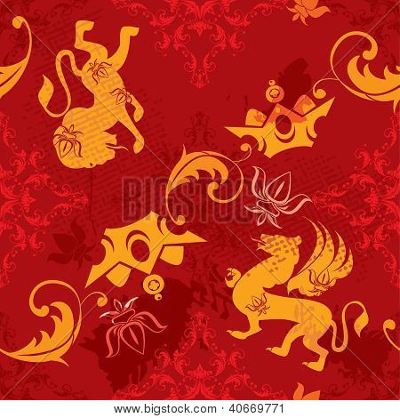 Seamless Pattern With Vintage Heraldic Silhouettes Elements