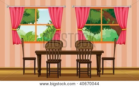 Illustration of a dinning table in a room
