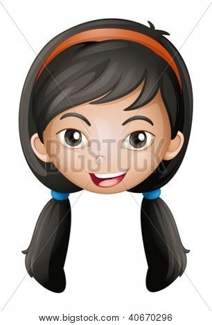 Illustration of a face of a girl on a white background