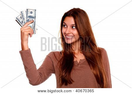 Young Woman Looking To Right Hand With Cash Money