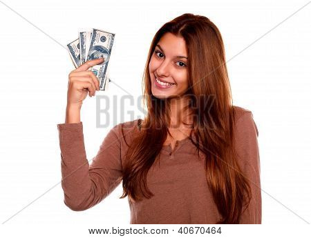 Charming And Smiling Young Woman With Cash Money