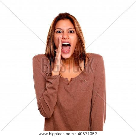 Charming Young Woman Looking And Screaming At You