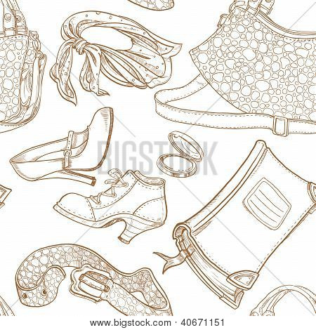 Seamless pattern of female clothing and leather women's cosmetics