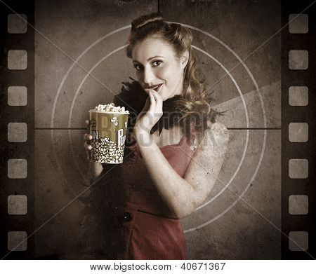 Beautiful Film Actress On Vintage Movie Screen
