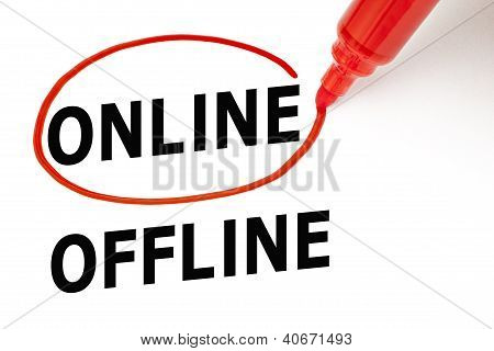 Online Or Offline With Red Marker