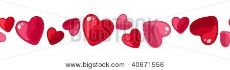 Horizontal seamless background with hearts. Vector illustration.