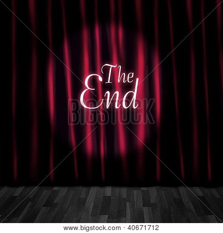Cortinas de palco de teatro fechado no desempenho final