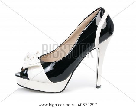 Black And White Pattent Leather Sexy Shoe Isolated On White Background