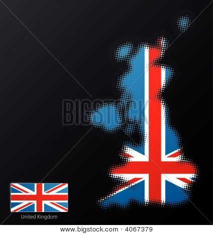 United Kingdom Modern Halftone Map Design Element