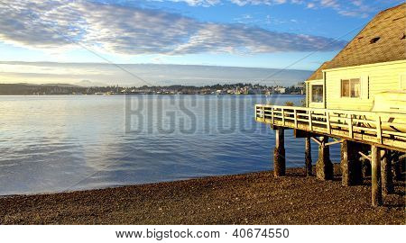 Port Orchard, Wa Bay Street Waterfront View Of Puget Sound.