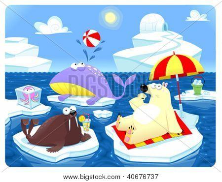 Verano o invierno en el Polo Norte. Ilustración del vector de dibujos animados.