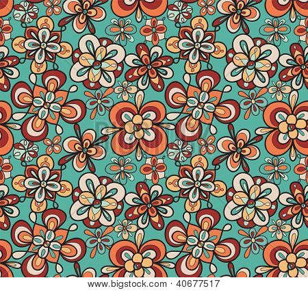 seamless fun floral abstract vector pattern wallpaper background
