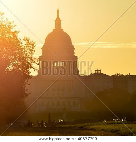 Washington DC - United States Capitol building silhouette