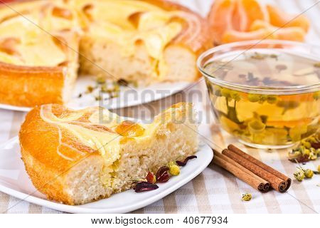 Pie, Tea And Slices Of Mandarin