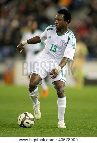 BARCELONA - JAN, 2: Nigerian player Ogenyi Onazi in action during the friendly match between Catalonia and Nigeria at Estadi Cornella on January 2, 2013 in Barcelona, Spain