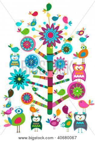 whimsy birds and tree colorful design