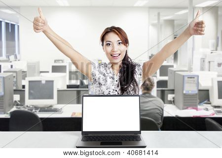 Successful Businesswoman And Blank Monitor