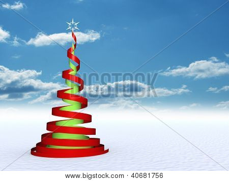 3D abstract conceptual red and green spiral Christmas tree with a white ornament star over a blue sky background