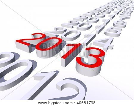 Conceptual 3D red 2013 year text standing out of the crowd isolated on white background