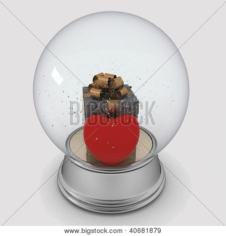 Snow globe with box and red heart on white background