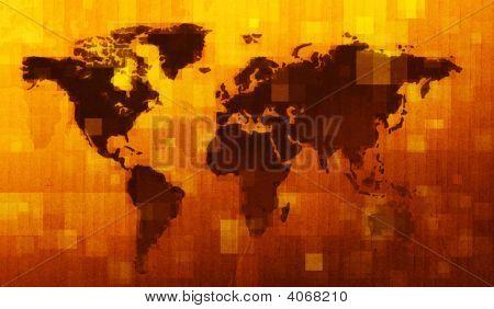 Grunge Digital World Map