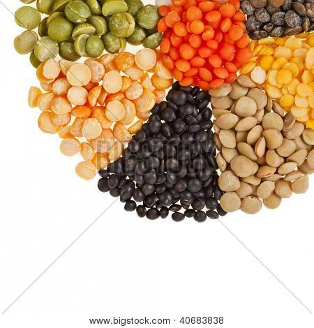 Mixture of dried lentils, peas, soybeans, legumes,beans  isolated on white