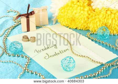 wedding invitations on decorated table close-up