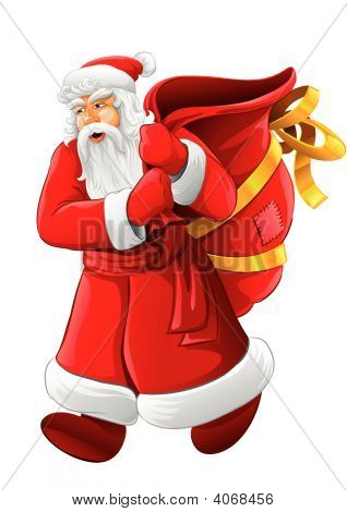 Christmas Santa Claus Walking With Big Empty Sack