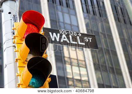 Wall Street Sign And Red Traffic Light, New York