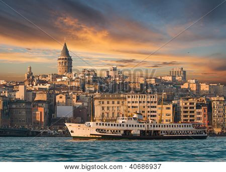 View from Istanbul with Galata Tower and the ferry