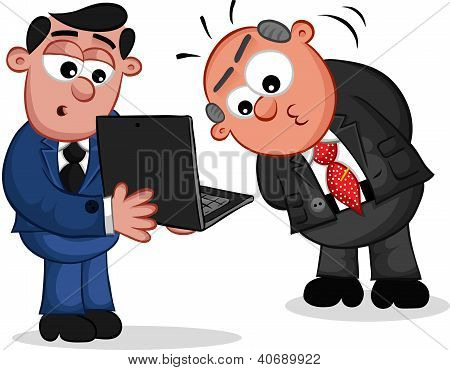 Business Cartoon - Boss Man Looking at Laptop