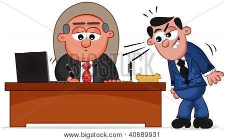 Business Cartoon - Boss Man Signing Papers with Employee
