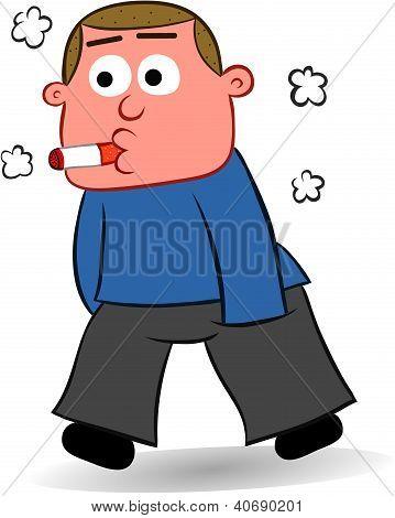 Cartoon Man Smoking a Cigarette
