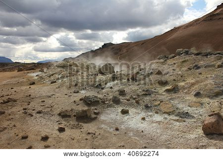 Steaming Solfatara Fields In Kafla Mountains