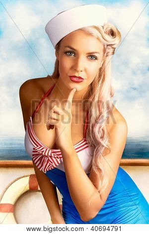 50S And 60S Pinup Style Photo Illustration