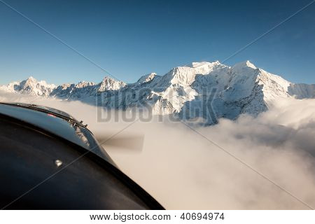 Mont Blanc In Winter From Airplane