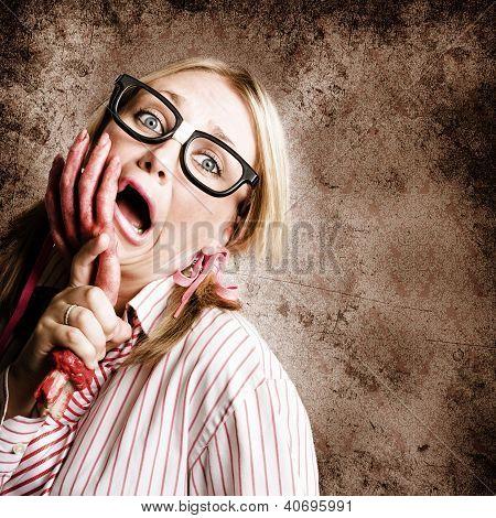 Stressed Businesswoman Under Attack At Work