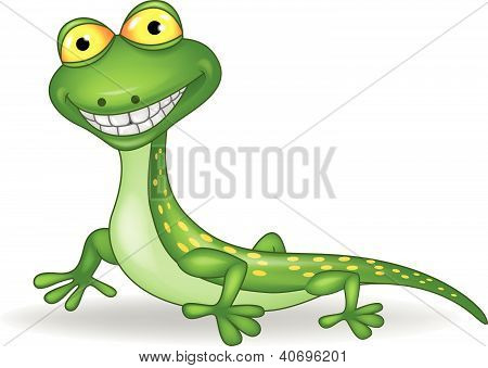 Cute green lizard cartoon
