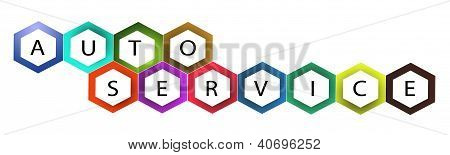 Multi Colors Hexagon Frame With Text Auto Service